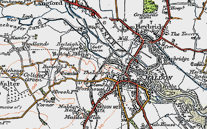 Old map of Maldon in 1921