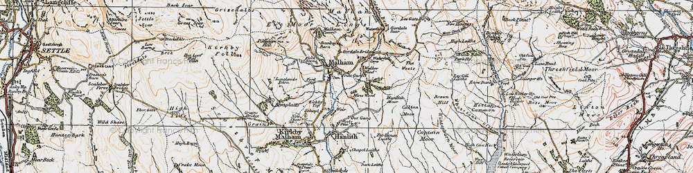 Old map of Malham in 1924