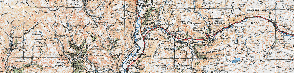 Old map of Mallwyd in 1921