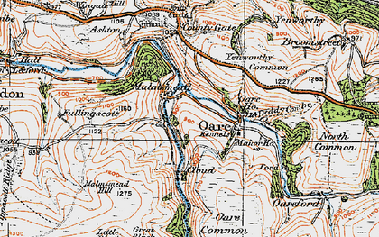 Old map of Badgworthy Lees in 1919