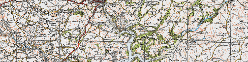 Old map of Woodbury in 1919