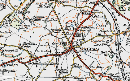 Old map of Malpas in 1921