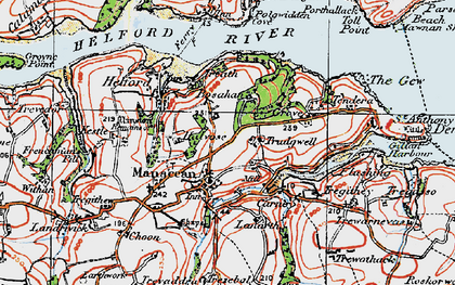 Old map of Manaccan in 1919