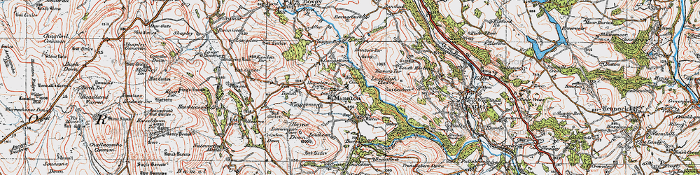Old map of Manaton in 1919