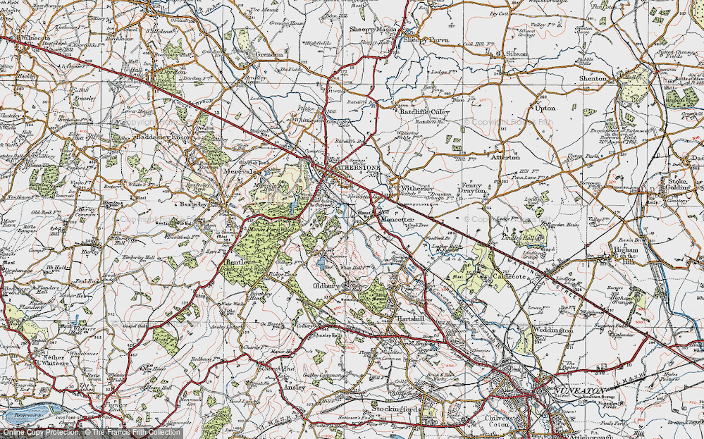 Old Map of Mancetter, 1921 in 1921