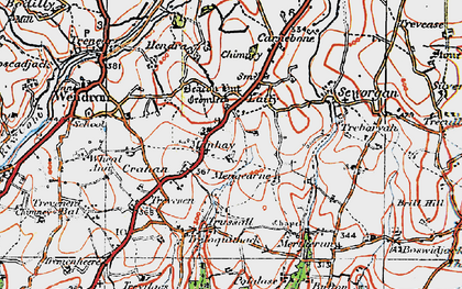Old map of Manhay in 1919