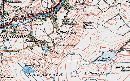 Old map of Withins Clough Reservoir in 1925