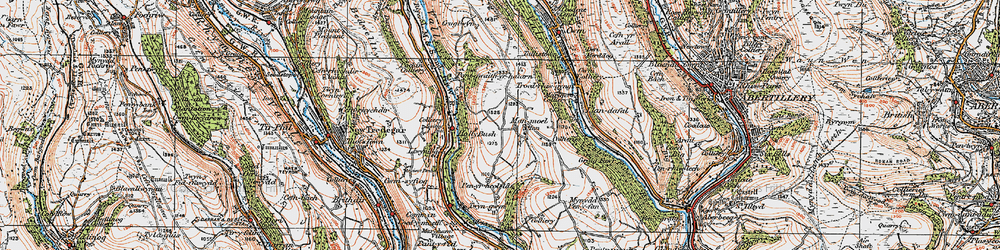 Old map of Manmoel in 1919