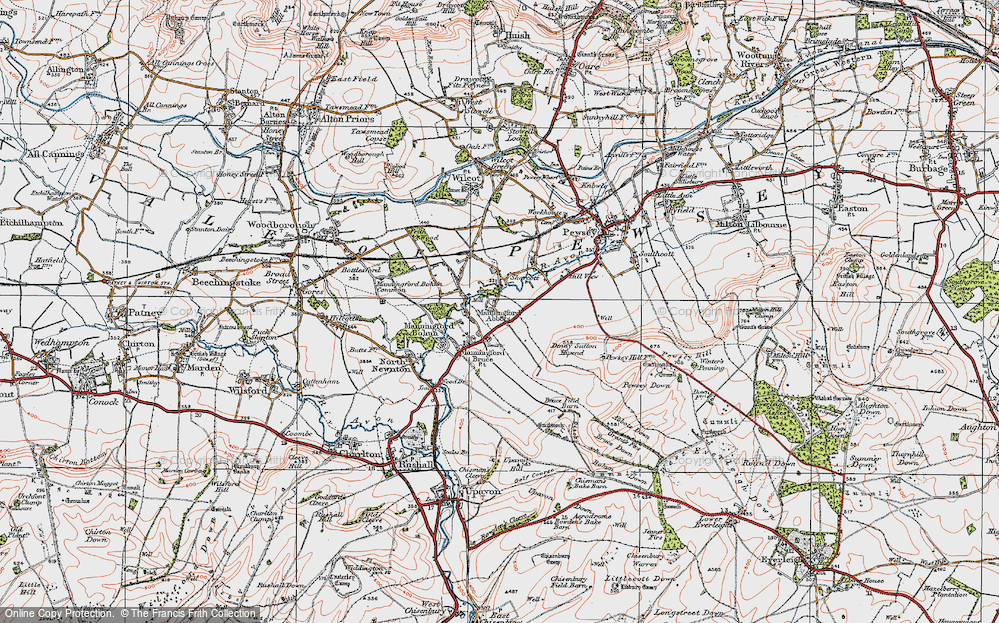 Old Map of Historic Map covering Abbots Down in 1919