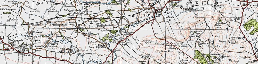 Old map of Abbots Down in 1919