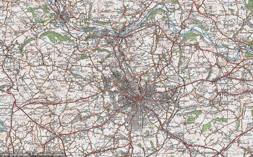 Old Map of Historic Map covering West Riding of Yorkshire in 1925