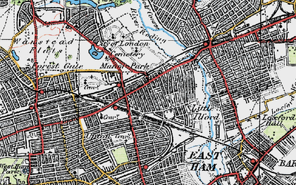 Old map of Manor Park in 1920