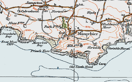 Old map of Manorbier in 1922