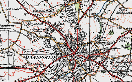 Old map of Mansfield in 1923