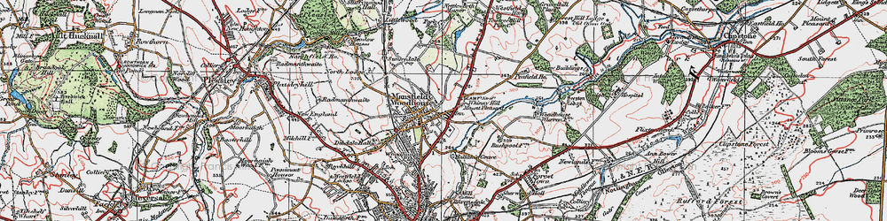 Old map of Whinney Hill in 1923