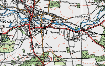 Old map of Worksop College in 1923