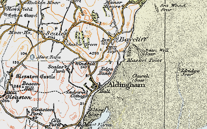 Old map of Aldingham in 1924