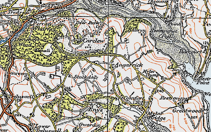 Old map of Angarrick in 1919