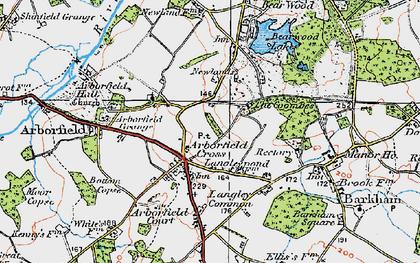 Old map of Arborfield Cross in 1919