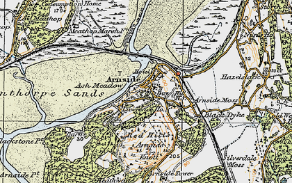 Old map of Arnside in 1925