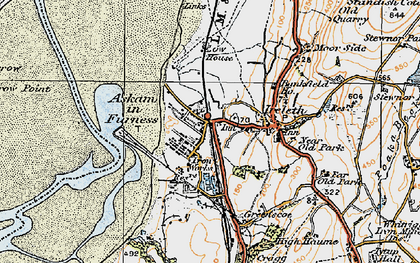 Old map of Askam in Furness in 1925
