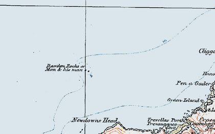 Old map of Bawden Rocks in 1919