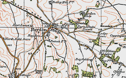 Old map of Baydon in 1919