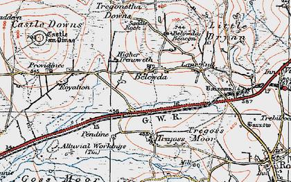Old map of Belowda in 1919