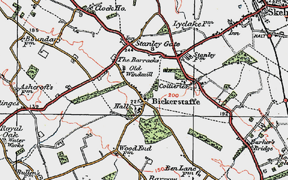 Old map of Bickerstaffe in 1923