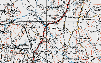 Old map of Bilberry in 1919