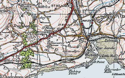 Old map of Biscovey in 1919