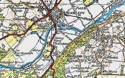 Old map of Bisham in 1919