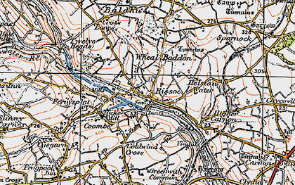 Old map of Bissoe in 1919