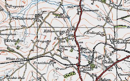 Old map of Black Cross in 1919