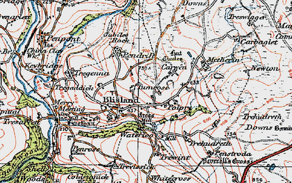 Old map of Blisland in 1919