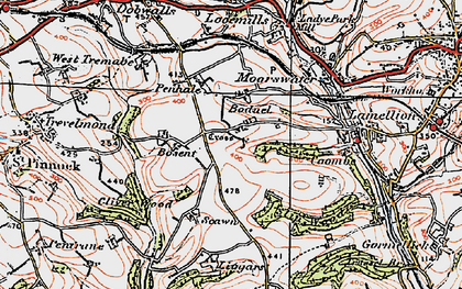 Old map of Boduel in 1919