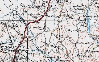 Old map of Bodwen in 1919