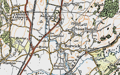 Old map of Borwick in 1924