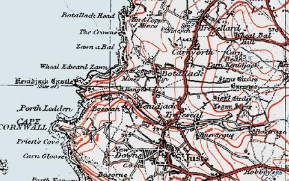 Old map of Boscean in 1919