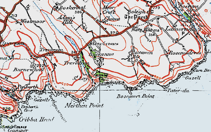 Old map of Boskenna in 1919