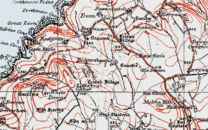 Old map of Bosporthennis in 1919