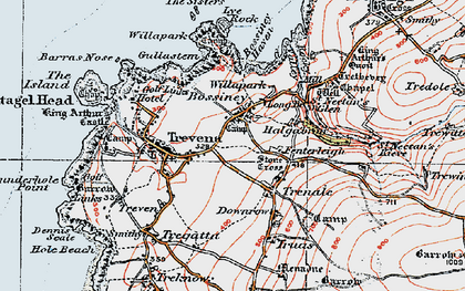 Old map of Bossiney in 1919