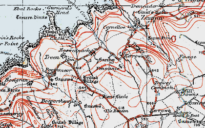 Old map of Boswednack in 1919