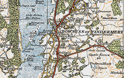 Old map of Bowness-On-Windermere in 1925