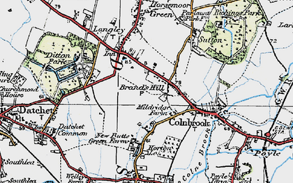 Old map of Brands Hill in 1920