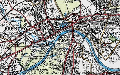 Old map of Brentford in 1920