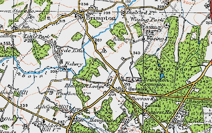 Old map of Brimpton Common in 1919