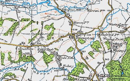 Old map of Brimpton in 1919