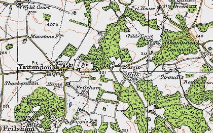 Old map of Burnt Hill in 1919