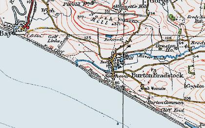 Old map of Burton Bradstock in 1919